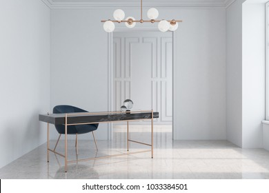 Modern white home office interior with a marble and brass table, a dark blue armchair and a marble floor. 3d rendering mock up