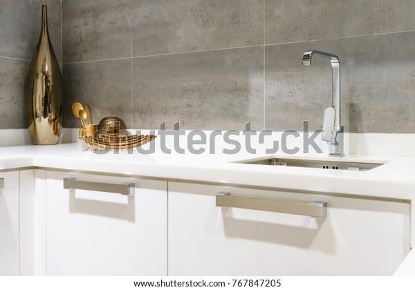 Modern White Kitchen Countertop White Granite Stock Photo Edit Now 767847205