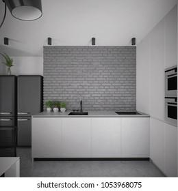 Modern white kitchen design with gray brick wall - 3 d render