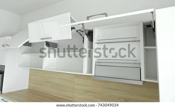 Modern White Kitchen Wall Unit Style Stock Photo Edit Now 743049034