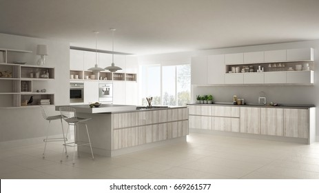 Modern white kitchen with wooden and white details, minimalistic interior design, 3d illustration