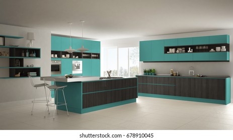 Modern white kitchen with wooden and turquoise details, minimalistic interior design, 3d illustration