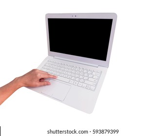Modern White laptop computer and hand touch on space bar isolated on white, working desk table concept.
