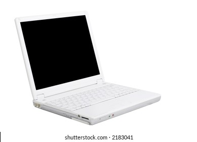 Modern white Laptop PC on isolated background