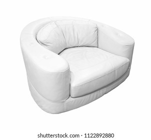 Modern white leather armchair isolated on white