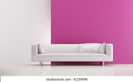 Modern white leather Couch to face a blank pink wall