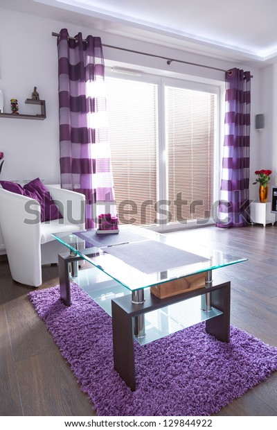 Modern White Living Room Interior Purple Stock Photo (Edit ...