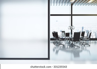 Modern white meeting room with copyspace 3D Render