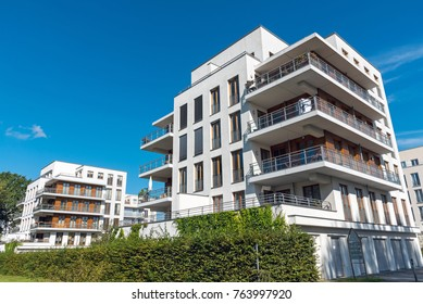 Modern white multi-family houses seen in Berlin, Germany