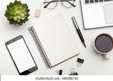 Modern white office desk table.