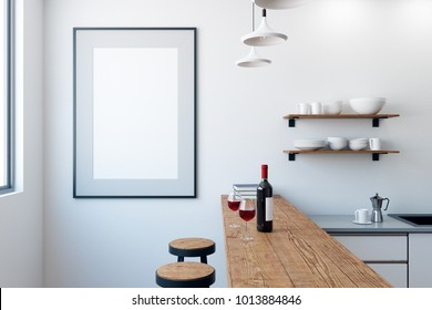 Modern white pub or bar interior with blank poster on wall. Mock up, 3D Rendering
