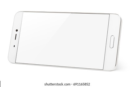 Modern white smartphone with white touch screen standing on the side. Smart phone in horizontal isolated on white background with clipping path