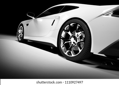 Modern white sports car in a spotlight on a black background. Front view. 3D render. Luxury cars.