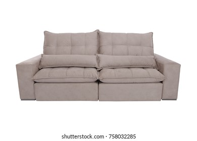 modern white suede couch sofa  isolated on white background
