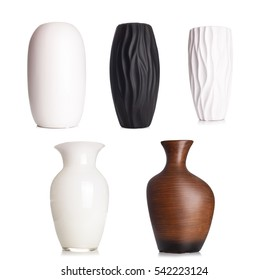 Modern white tall ceramic vase, decoration object isolated on white background..