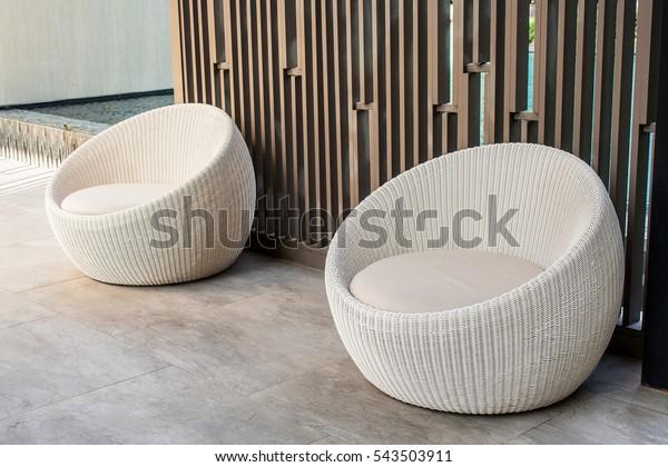 Terrific Modern White Wicker Garden Sofa Love Stock Photo Edit Now Onthecornerstone Fun Painted Chair Ideas Images Onthecornerstoneorg