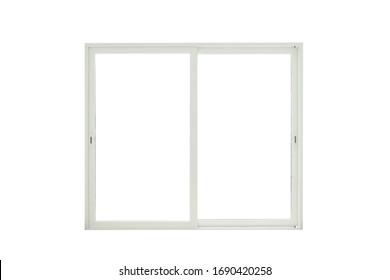 Modern wide sliding door on white background, sliding glass door.