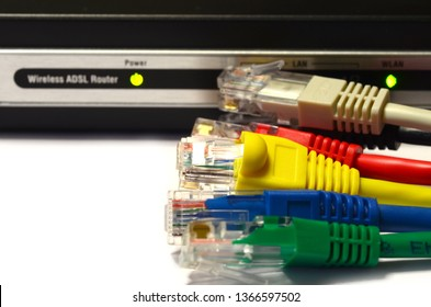 Modern WiFi Modem Router ADSL with LAN Cable rj45