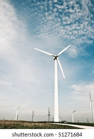 Modern windmills. Wind energy. Concept of ecology and environment