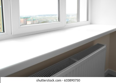 Modern window sill close up