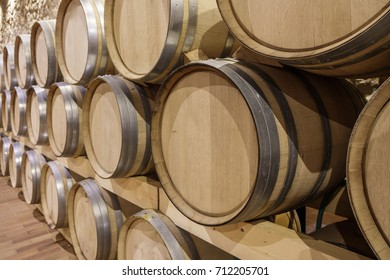 Modern wine cellar with wooden barrels, perspective view