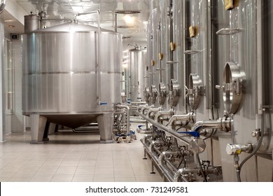 modern wine factory with new large tanks for the fermentation