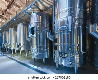 modern winery with  stell barrels