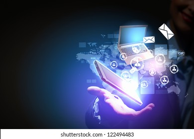 Modern wireless technology illustration with a computer device