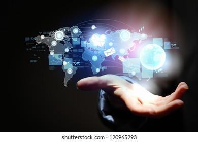 Modern wireless technology and social media illustration