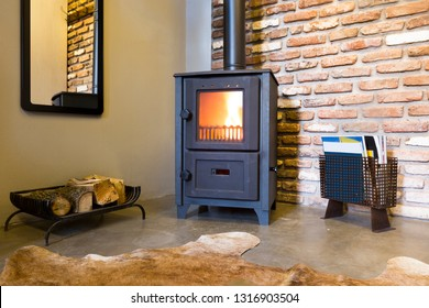 Modern wood burning stove inside cozy living room with rustic brick walls and bear skin on the floor.