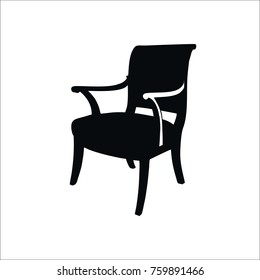 Modern wood chair icon.  illustration