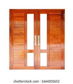 modern wood door , isolated with clipping path on white background