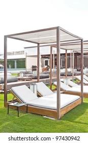 Modern wooden beach pergola gazebo pavilion