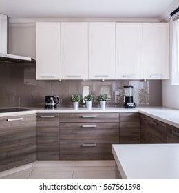 Modern and wooden cabinets in the kitchen