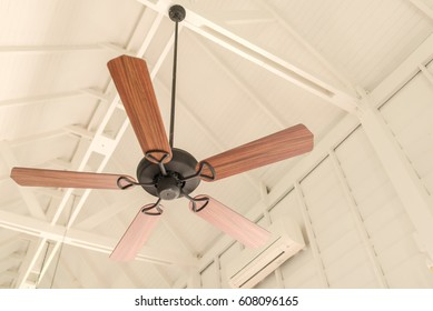 Modern wooden ceiling fan vintage style stock photo 608096165 modern wooden ceiling fan vintage style aloadofball Images