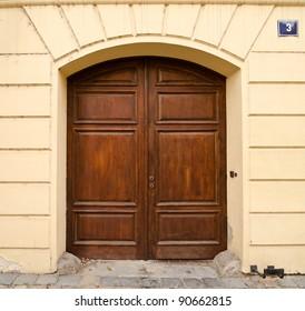 Modern Wooden Door with 2 Wings, Prague, The Czech Republic