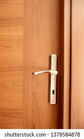 Modern wooden door close-up