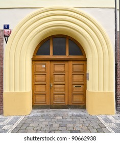 Modern Wooden Door with Glass Panes and Arches, Prague, The Czech Republic