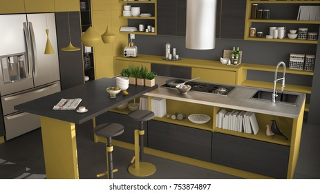 Modern wooden kitchen with wooden details, close up, island with stools, gray and yellow minimalistic interior design, 3d illustration