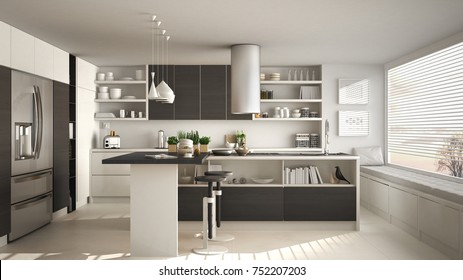 Modern wooden kitchen with wooden details and panoramic window, white and gray minimalistic interior design, sunset sunrise panorama, 3d illustration