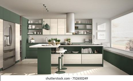 Modern wooden kitchen with wooden details and panoramic window, white and green minimalistic interior design, sunset sunrise panorama, 3d illustration