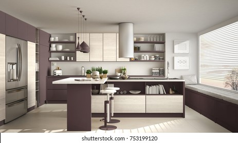 Modern wooden kitchen with wooden details and panoramic window, white and red minimalistic interior design, sunset sunrise panorama, 3d illustration