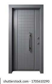 Modern wooden looking front door, very sturdy steel door