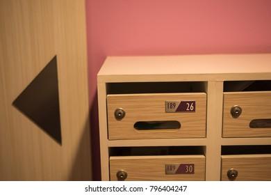 Modern Wooden Mailbox In Condominium