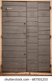 Modern Wooden Plank Door with Hinges, Marseille, France