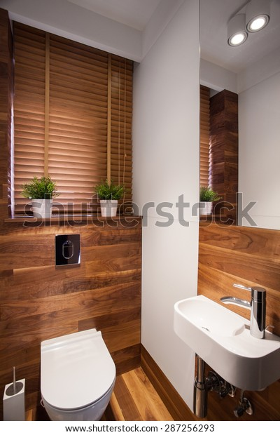 Modern wooden small restroom with little sink