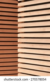 Modern wooden wall design, bright and polished wooden paling parallel arrayed
