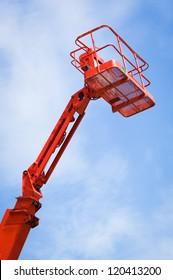 modern working platform in front of blue sky
