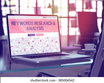 Modern Workplace with Laptop Showing Landing Page in Doodle Design Style with Text Keywords Research and Analysis. Toned Image with Selective Focus. 3D Render.