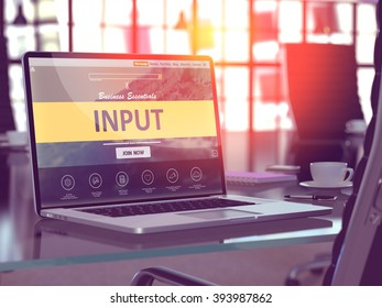 Modern Workplace with Laptop showing Landing Page with Input Concept. Toned Image with Selective Focus. 3D Render.